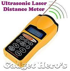 Gadget Hero's Ultrasonic Distance Measure Meter Laser Pointer 60 Ft / 18 Mt With LCD Display