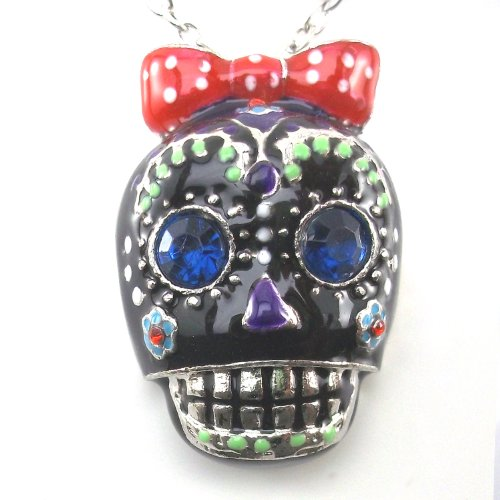 Daisyjewel Black Enamel & Crystal Sugar Skull Necklace