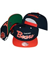 Chicago Bears Script Navy/Orange Two Tone Snapback Adjustable Plastic Snap Back Hat / Cap