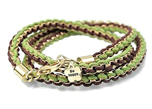 Gold Tone Be Happy Frienship Wrap Bracelet 22 Inches Green Brown Cording