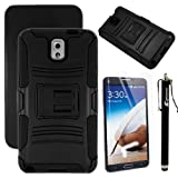 MINITURTLE, Rugged Hybrid Dual Layer Armor Phone Case Cover with Built in Kickstand, Belt Clip Holster, and Screen Protector or New Android Smartphone Samsung Galaxy Note 3 III (Black)