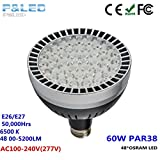 P&LED PAR38 60w Led Pool Lights Bulb For In Ground Pool, For Bay Swimming Pool Spa Garage 110v 800w replacement