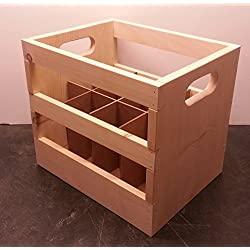 Hand Made Wooden Wine Bottle Crate. 12-Bottle Capacity. Made Locally In The USA!