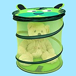 Dix-Sept Foldable Cartoon Animal Storage Organization Pop-up Laundry Hamper Toy Collection Boxes Laundry Basket with Cover (Green Tiger)