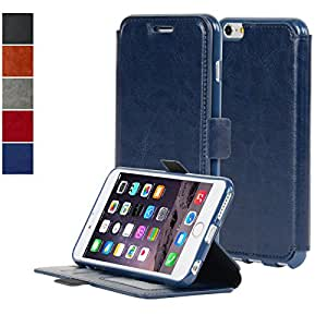 Navor IP6PTNB Ultra Slim Flip Wallet PU Synthetic Leather Case for iPhone 6 Plus/6S Plus- Navy Blue