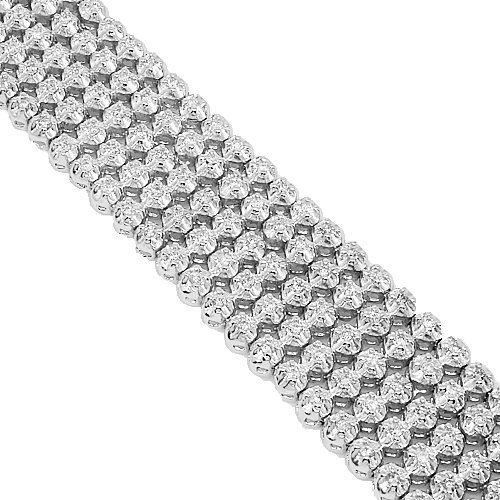 10K White Gold Mens Diamond Bracelet 11.69 Ctw
