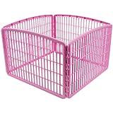 IRIS Plastic Exercise/Containment Pet Pen, 4 Panels, Pink