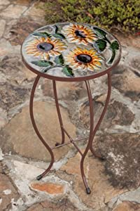 Sunflowers Round Glass Side Table by Evergreen Enterprises, Inc