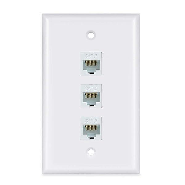 Ethernet Wall Plate 3 Port - Ethernet Cat6 RJ45 Wall Plate Wall Plate Female to Female - White (Color: white, Tamaño: 3 Port)