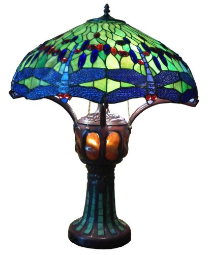 Green Handmade Dragonfly Tiffany Style Stained Glass Table Lamp Lamps with Lit Base TLL012 3-Bulbs