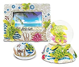 Puzzled Sea Turtle Resin Stone Finish Collection including Picture/Photo Frame, Jewelry Box , and Snow Globe - Picture Size 5 by 3 - Unique Elegant Gift and Souvenir