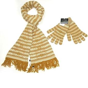 lovarzi camel braun wei damen schal und handschuhe set. Black Bedroom Furniture Sets. Home Design Ideas