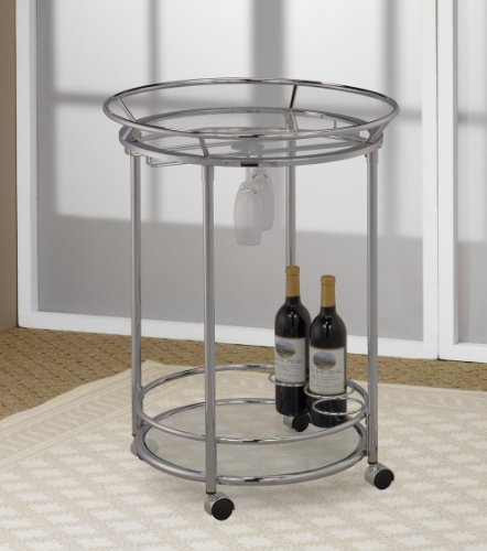 Chrome finish drinks serving cart with rails  end table
