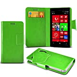 (Green) Nokia Lumia 810 Protective Mega Thin Faux Leather Suction Pad Wallet Case Cover Skin With Credit/Debit Card Slots Aventus