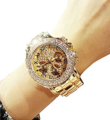 Women Dress Watch Rose Gold with Zircon Big Round Quartz Fashion Casual