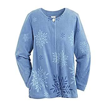 Blair Women's Plus Size Fleece Jacket - XL Dusty Blue at