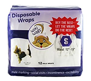 "Wiki Wags Brand 12 Small Disposable Male Dog Wraps (Waist: 12""-19"")"