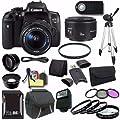 Canon EOS Rebel T6i DSLR Camera with EF-S 18-55mm f/3.5-5.6 IS STM Lens 0591C003 + EF 50mm Lens + 32GB SDHC Card + UV Filter + Case + Tripod + External Flash + Saver Bundle