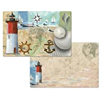 Race Point Lighthouse Set of 4 Reversible Placemats Counter Art Decofoam