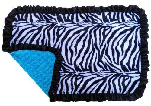 Patricia Ann Designs Satin Ruffles Zebra Swirl Indulgence Blanket, Turquiose/Black - 1