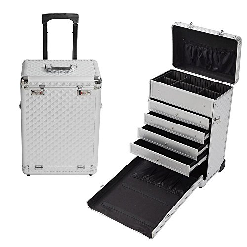 Diamond PIN Rolling Jewel Makeup Case Display Drawer Code Lock Aluminum Portable (Portable Display Case compare prices)