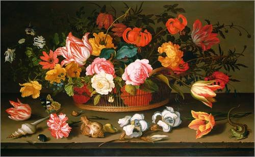 Stampa su acrilico 50 x 30 cm: Basket of flowers di Balthasar van der Ast / Bridgeman Images