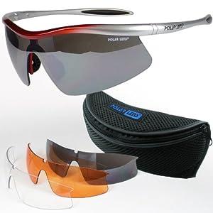 POLARLENS SERIES S26-01 Lunettes de sport / Lunettes de velo cyclisme / Lunettes de Soleil avec Anti brouillard + avec lentilles interchangeables + en ceinture-banane !