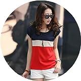 viewing 韓国スタイル 2014 夏 シフォンシャツ Tシャツ ストライプ 半袖 エレガント 丸襟 レディース レディス ファッション