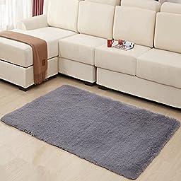 Hughapy® Home Decorator Modern Shag Area Rugs Super Soft Solid Living Room Carpet Bedroom Washable Rug and Carpets,80 * 120cm(Grey)