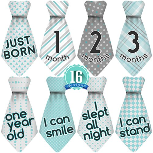 Original Stick'Nsnap (TM) 15 Baby Monthly Necktie Onesie Stickers -