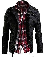 Zicac Men's Fashion New Military Casual Jacket Zip Button Coat