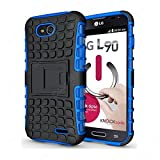 CaseMachinee Flip Kick Stand Hard Dual Armor Hybrid Bumper Back Case Cover For LG L90 D410 Dual Sim - Blue
