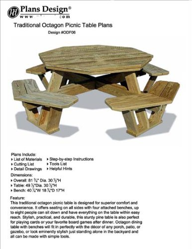 Traditional Octagon Picnic Table Set / Woodworking Out Door Furniture Plans Pattern #Odf06 back-203035