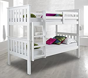 Atlantis PINEWOOD White Bunk Bed, Two Sleeper, Quality Solid Pine Wood BUNK BED with 2 Luxury Spring MATTRESSES