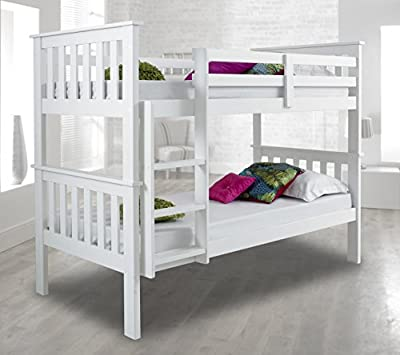 Atlantis Pinewood White Bunk Bed Two Sleeper Quality Solid Pine Wood Bunk Bed Frame