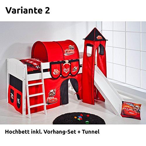 Hochbett Spielbett IDA Disney Cars, mit Turm, Rutsche und Vorhang, weiß, Variante 2 günstig bestellen
