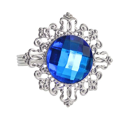 12pcs Diamond Napkin Ring Serviette Holder Rings Table Decorations (Royal Blue/Deep Blue)