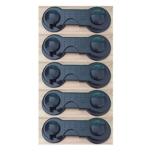 Safety Pwease Strong Adhesive Baby Safety Locks -5 Pack (Black) (Refrigerator Lock Black compare prices)