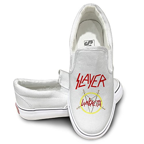 PTCY Slayer Band Slip-on Unisex Flat Canvas Shoes Sneaker 36 White (Tom Clarks Popcorn compare prices)