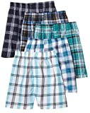 Fruit of the Loom Mens Tartan 5-Pack Woven Boxer - Colors May Vary