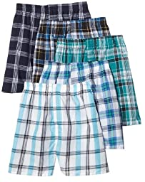 Fruit of the Loom Men\'s Tartan  Woven Boxer - Colors May Vary, Assorted Plaid, Large(Pack of 5)