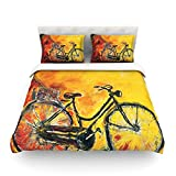 """Kess InHouse Josh Serafin """"To Go"""" Yellow Bicycle Cotton Duvet Cover, 88 by 88-Inch"""