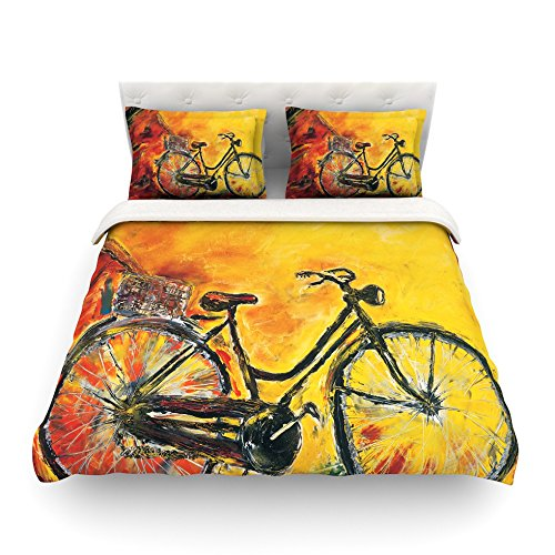 Kess InHouse Josh Serafin To Go Yellow Bicycle Cotton Duvet Cover, 88 by 88-Inch kess inhouse danny ivan ticky ticky twin cotton duvet cover