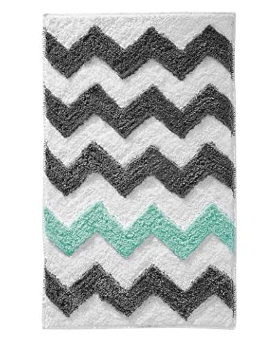 InterDesign Chevron Rug, Grey/Aruba