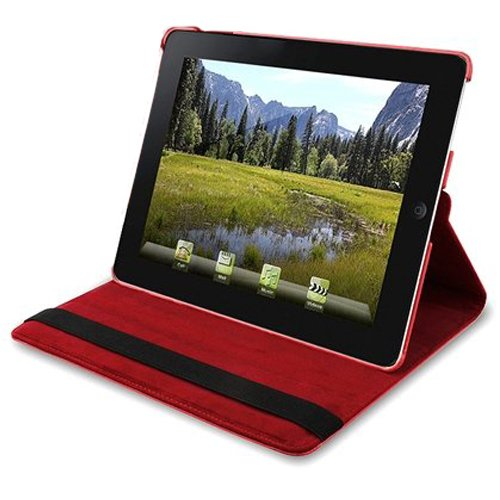 Fosmon 360 Degree Revolving PU Leather Case With Multi Angle Stand for Apple iPad 2 Wifi 3G 16G 32G 64G - Red (w/Magnetic Sleep Function)