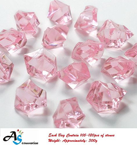 A&S Creavention Translucent Acrylic Ice Rocks Crystals Gems for Vase Fillers, Table Scatters, etc. 300g/Bag 150-160 stones (Pink) (Pink Vase Filler Gems compare prices)