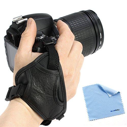 Birugear Black Camera Heavy Duty Hand Strap Grip+ Cleaning Cloth For Nikon P7800, L820, L810, P520, P510, D800, D90, D7100, D7000, D3200, D3100, D5200, D5000, D80; Canon Powershot Sx510 Hs, Sx500 Is, Eos 70D 7D 60D 60Da Sl1 T5I T4I T2I T3I T3, 5D Mark Ii