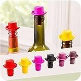 -Net-Solutions--x-6-Bouchons-pour-Bouteille-de-Vin-en-silicone-Conservation-optimale-de-votre-prcieuse-liqueur-avec-classe-grce--sa-forme-de-chapeau-Pack-de-6