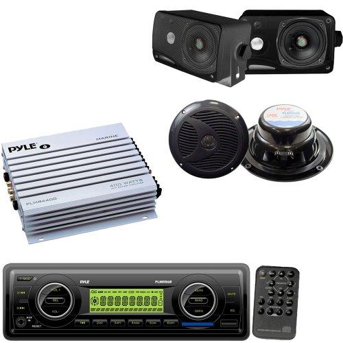 Pyle Marine Stereo, Radio Receiver, Speaker and Amplifier Package - PLMR86B AM/FM-MPX Electronic Tunning Radio w/USB/SD/MMC - PLMR24B 3.5'' 200 Watt 3-Way Weather / Water Proof Mini Box Speaker System - PLMRA400 4 Channel 400 Watt Waterproof Marine Amplif