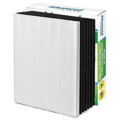 Premium True HEPA Filter with 6 Activated Carbon Pre Filters compatible with Winix 115115 Size 21 - Works with PlasmaWave P300, 5300, 5500, 6300 & Fellowes Aeramax 290, 300, DX95 manufactured by Advanced Filters